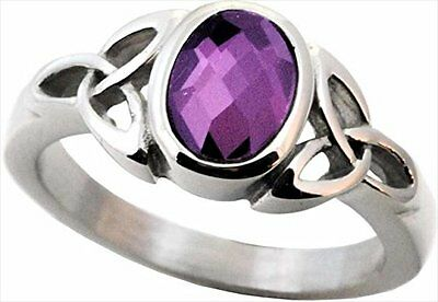 Purple Stone CELTIC TRINITY Stainless Steel Ring, by Forgiven Jewelry, Sizes 6-9