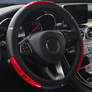 Black-Red-Leather-Car-Steering-Wheel-Cover-Anti-slip-Protector-For-37-38cm
