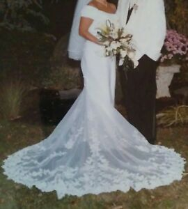 Details About Davids Bridal St Tropez Form Fitted Wedding Gown W Train Size 16 Free S H Usa