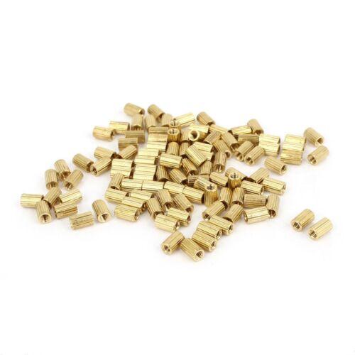 100 Pcs Female Threaded Pillars Brass Standoff Spacer Gold Tone M2x4mm #M2527 QL