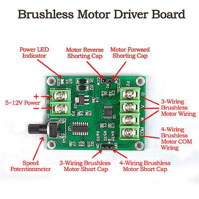 DC 5V-12V 3//4 Wire Mini DC Brushless Motor Driver Module Speed Controller Board
