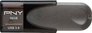 PNY - Elite Turbo Attache 4 16GB USB 3.0 Type A Flash Drive - Black/Gray
