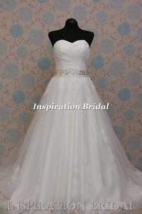 1576-White-Ivory-wedding-dress-A-line-sweetheart-lace-princess-any-plus-size-UK