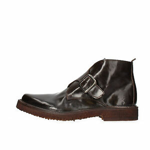 Chaussures-Hommes-MOMA-9-UE-42-Bottines-en-cuir-marron-fonce-AF269-B