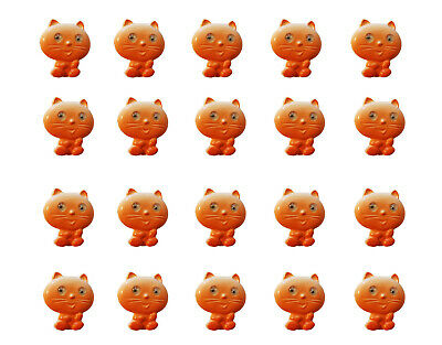 20 pcs Cute VTG Orange Kitty Cat with Googly Wiggle Eyes Plastic Sewing Buttons