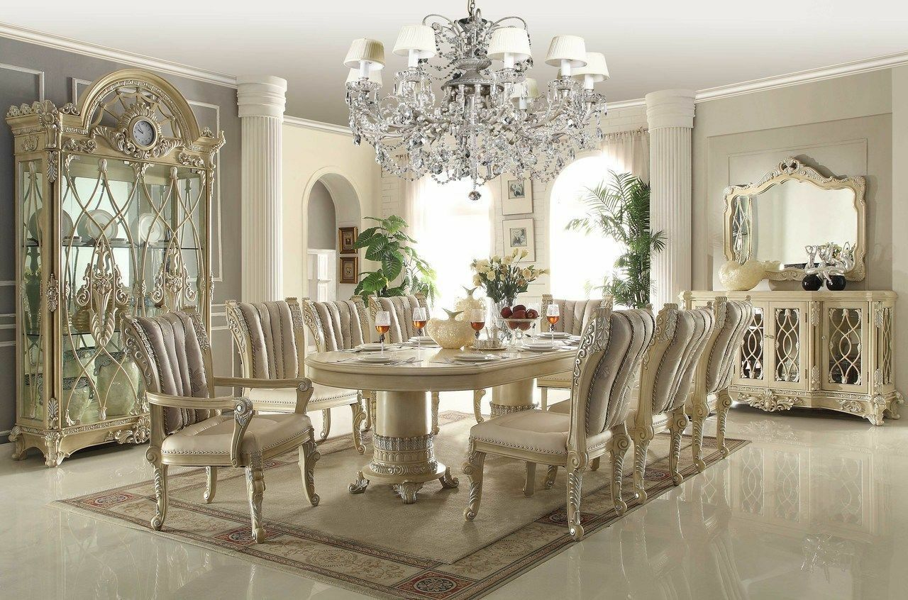 Homey Design Off White 12 Pc Traditional Dining Room Set SKU: HD 5800