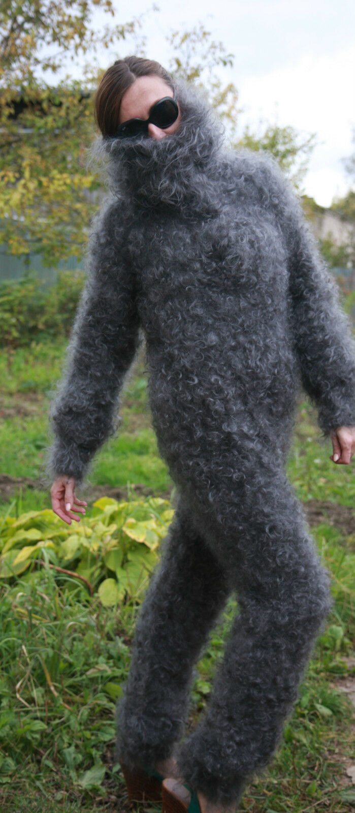 Сoverall Overalls Jumpsuit Longhair 100% Goat Down Mohair J. Rodas Knit to order