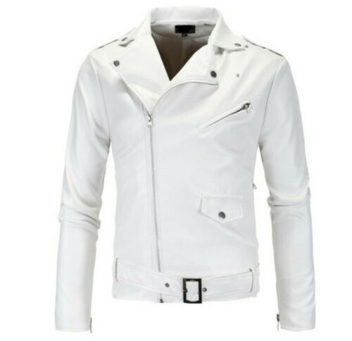 Mens Slim Fit Faux Leather Jacket Bomber Biker Motorcycle Long sleeve Occident L