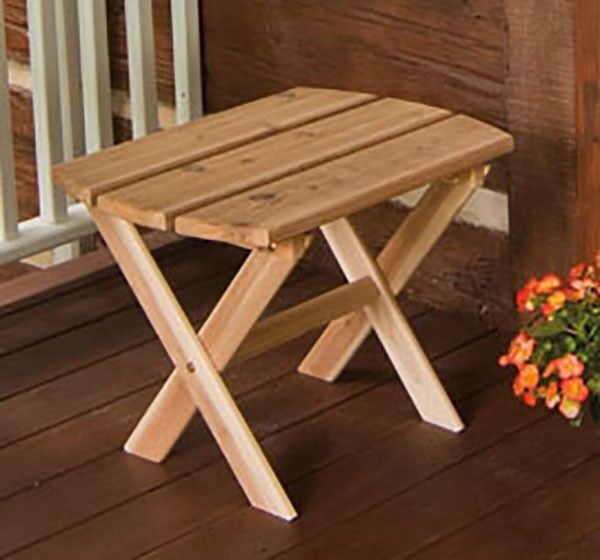 Superbe Outdoor Furniture Cedar Folding Oval End Table *Unfinished No Stain* Made  In USA