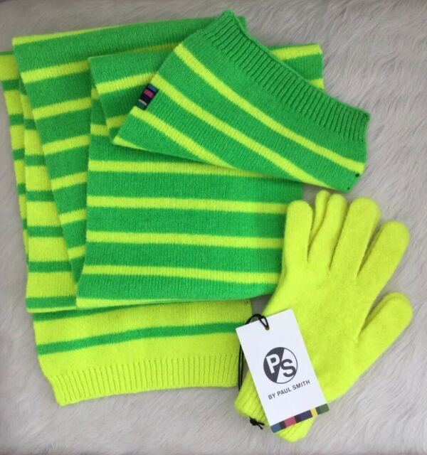 PS Paul Smith Mens Neon Green/Yellow Stripe Scarf & Neon Yellow Gloves NEW $207