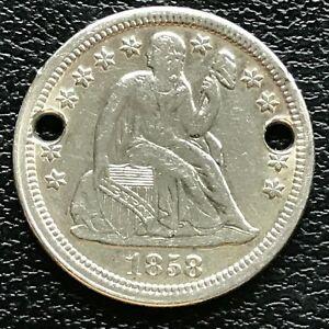 1858-Seated-Liberty-Dime-10c-AU-UNC-Det-Holed-13364