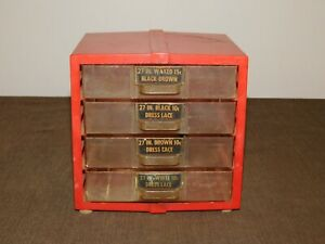 """VINTAGE SEWING 6 1/2"""" X 6"""" X 6"""" HIGH PLASTIC 4 DRAWER LACE STORE DISPLAY 10C BOX"""