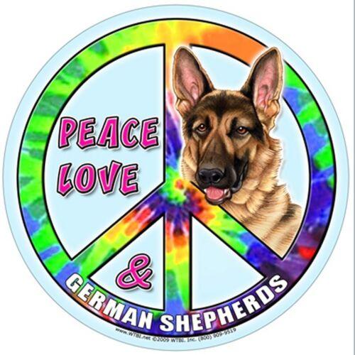 """Hippie Dog Magnet /""""Peace Love /& German Shepherds/"""" Waterproof Magnet New"""