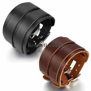 Retro-Punk-Wide-Genuine-Leather-Belt-Cuff-Bangle-Wristband-Bracelet-Mens-Womens