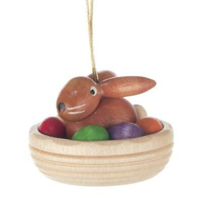 OSTERHASE Hase im Nest NEU Erzgebirge Ostern Frühling Küken Eier Strauch Holz
