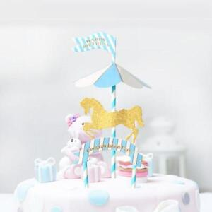 Carousel Horse Cake Topper Birthday Party Decorations Baby Kids Girl ...