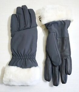 NWT-UGG-Women-s-Shearling-Cuffed-Leather-amp-Polyester-Tech-Gloves-Gray-amp-White