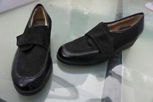 ARA-Damen-Schuhe-Mokassins-Slipper-Gr-8-H-42-schwarz-Leder-Klett-warm-gefuettert