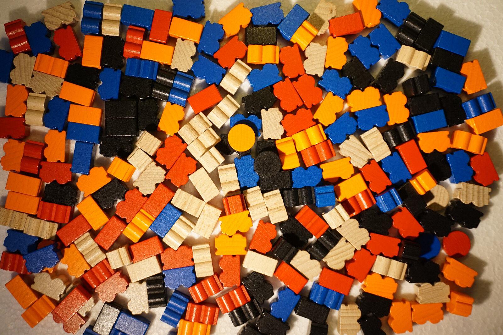 ZUG UM ZUG   230 Spielfiguren Ersatzteile Steine  ZÜGE + Scheiben 5 Farben HOLZ