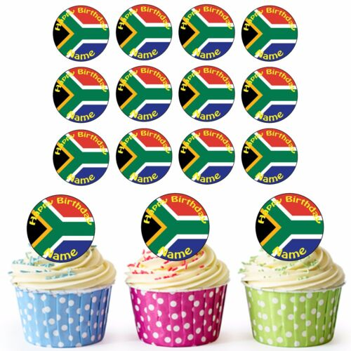 South African Flag 24 Personalised Pre-Cut Edible Birthday Cupcake Toppers