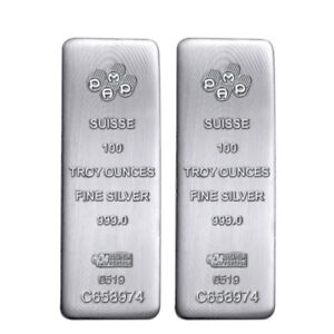 Lot-of-2-100-oz-PAMP-Suisse-Silver-Cast-Bar-999-Fine-w-Assay