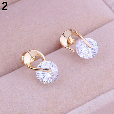 New Women's Diamante Jewelry Gold Plated Zircon Crystal Earring Earbob Ear Studs