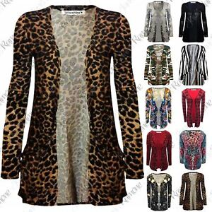 New-Womens-Ladies-Printed-Open-Front-Pocket-Boyfriend-Cardigan-Long-Sleeve-Tops