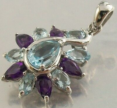 Genuine 925 Sterling Silver faceted Amethyst and Topaz Charm Pendant 17mm x 20mm