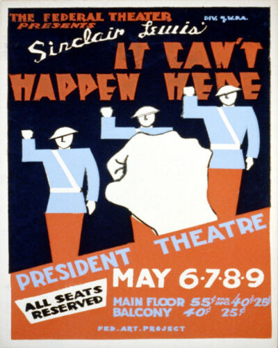 POSTER IT CAN/'T HAPPEN HERE PLAY THEATER FASCISM USA VINTAGE REPRO FREE S//H