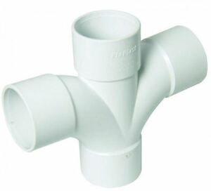 Solvent White 92.5' Degree 40mm (43mm) Waste Pipe Cross Tee - Bag of 2