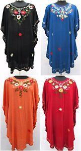 Embroidered-Kaftan-Beach-Hippie-Dress-Boho-Size-12-14-16-18-20-22