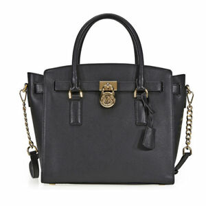 a890119a5c0f70 Michael Kors Hamilton Large Pebbled Leather Satchel in Black for ...