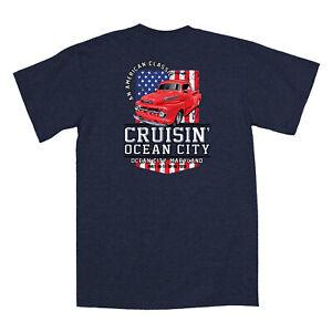 2019-Cruisin-Ocean-City-official-car-show-t-shirt-heather-navy-blue-MD-patriotic