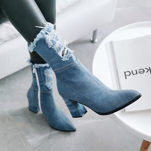 b6acd263bb1c55 New Women Denim Pointed Toe Side Zip Med Block Heels Ankle Boots ...