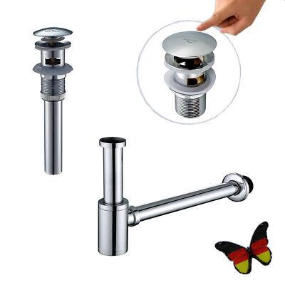 Siphon Sifon Pop-UP Ablaufventil Ablaufgarnitur Mit Überlauf Für Waschbecken