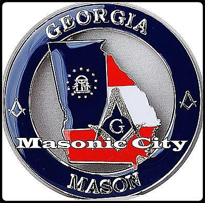 Z-153 GA Masonic Auto Emblem STATE SERIES GEORGIA FreeMasonry Car Mason PHA
