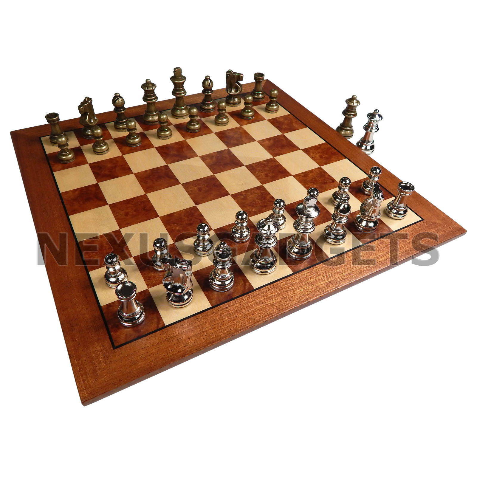 Hali Chess Game Set 15 INCH Inlaid Wood Board, Metal Pieces w  Extra Queens