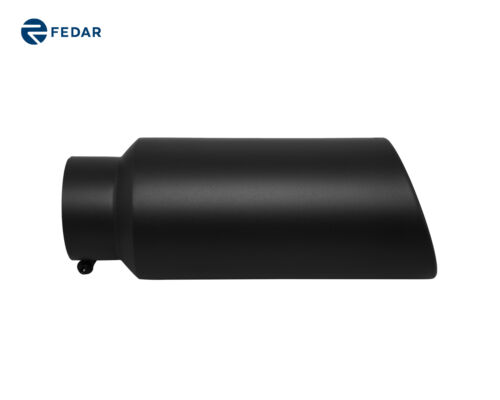 Black 5 inch Inlet 7 Outlet 18 Long Rolled End Angle Cut Exhaust Tip Tail Pipe