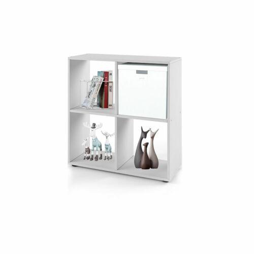 Regal Bücherregal Stufenregal Bücherschrank Bücherwand Weiß 4 Fächer Cube Holz