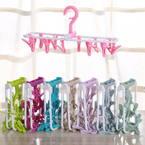Foldable Baby Clothes Hanger Hook With 12 Clips Drying Rack For Socks Gadget New