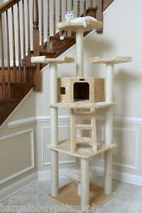 80-034-Armarkat-Cat-Tree-Condo-Bed-Perch-Play-House-Scratching-Post-Beige-A8001