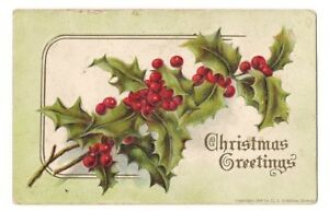 Details about Christmas Greetings Holly/Berries 1907 H  I  Robbins, Boston  Vintage Postcard