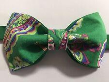 Custom Mens Green/Pink Floral Bow Tie Pre-tied Adjustable Handmade bowtie