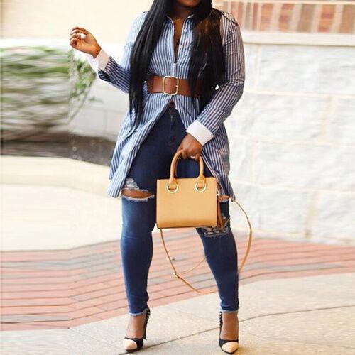 Damen Kragen Langarm Hemd Bluse Hemden Baumwolle Linen Gestreift Longshirts Tops