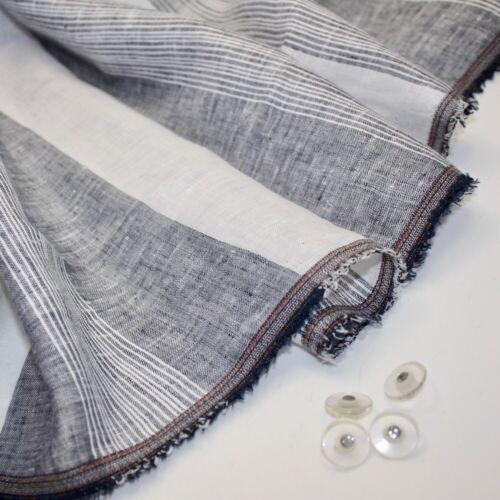 Nuevo 100/% lino fino de Chambray Raya-Denim-Confección Tela Costura De Moda
