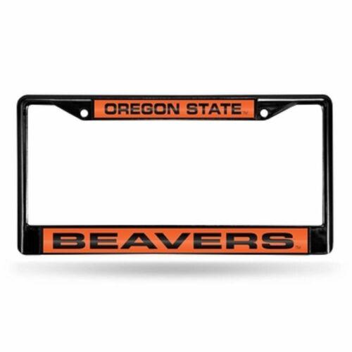 NWOB Oregon State Laser Etched Chrome License Plate Frame Black