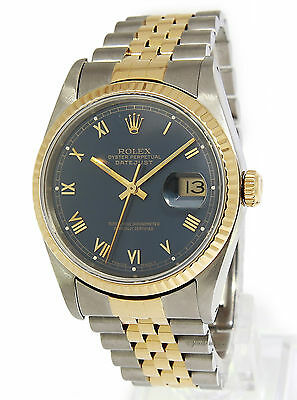 Rolex Mens Datejust 18k Yellow Gold Stainless Steel Blue Dial Watch 16233 +Box