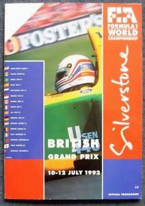 BRITISH-GRAND-PRIX-SILVERSTONE-1992-FORMULA-ONE-F1-Official-Race-Programme