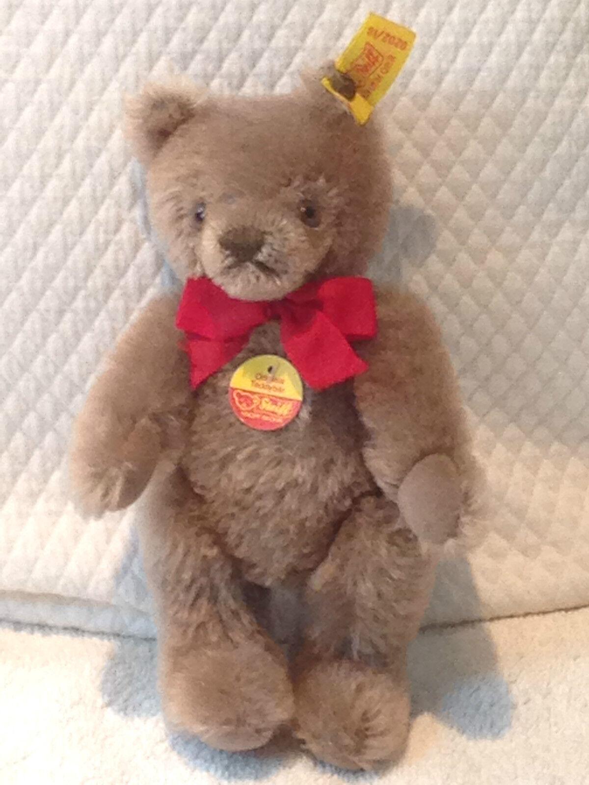 ❤STEIFF ORIGINAL TEDDY BEAR 0202 18 IDs JOINTED 7  1983-93 CARMEL MOHAIR VTG❤
