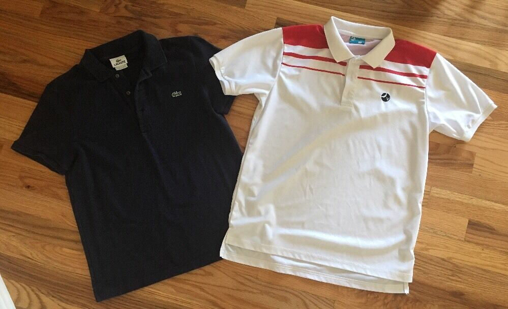 Lacoste Izod And Vollaix Retro Vintage Tennis Polo Shirts